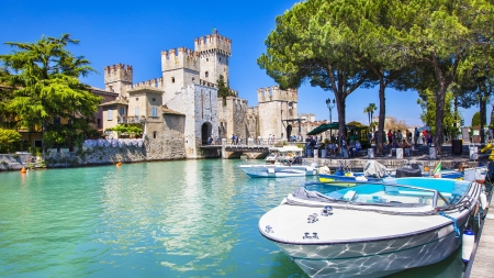 Scaliger Castle, Sirmione,Lago Di Garda - boat, water, Italy, trees, reflection