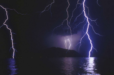 Lightning Over Water - clouds, water, lightning, night