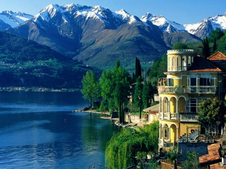 Lake Como, Italy - water, alps, mountains, trees, chalet