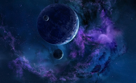 Planets - cosmos, stars, nebula, blue, luminos, planet, purple, space
