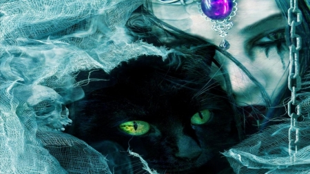 Watchful Eyes - Purple, Watching, Green, Cat, Woman, Hiding