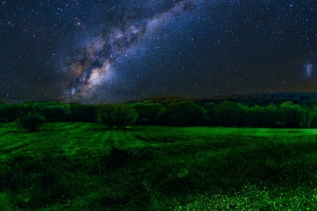 Milky Way over Green Field - Nature, Fields, Nights, Sky, Stars