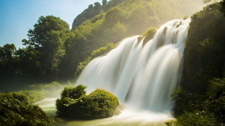 Waterfall - Waterfall, nature, sky, tree
