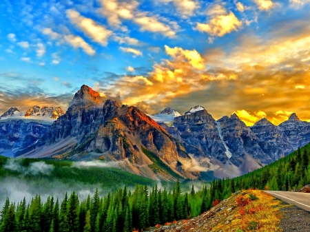 Banff National Park, Canada - Forest, Mountains, Golden Sky, Park, Road