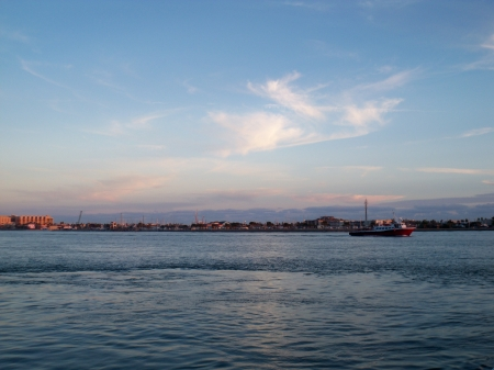 Port Aransas View from Ferry - Sea, Cityscapes, Sky, Clouds, Oceans, Twilight, Sunsets, Nature