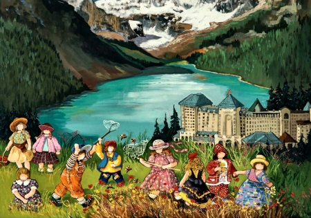 Lake Louise - art, water, illustration, scenery, landscape, little girls, wide screen, beautiful, artwork, lake, painting