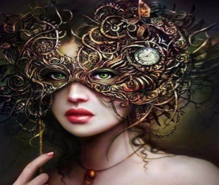 Steampunk Mask Woman - Steampunk, Female, Models, Mask, People, Woman