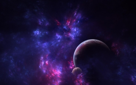 Violet Interaction - moons, planets, stars, 3d, galaxies, purple, space