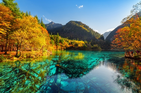 Jiuzhaigoz Park, China - Autumn, Valley, River, Mountains