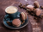 Cappuccino and macarons
