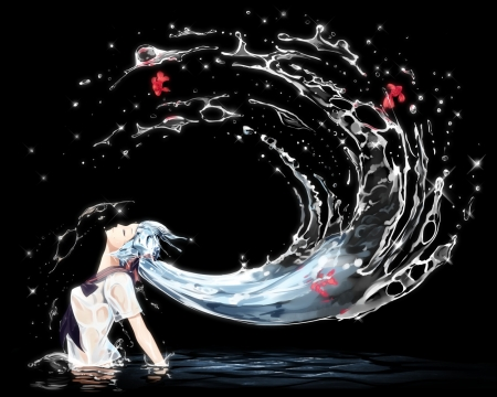 Hatsune Miku - hatsune miku, fish, bottle, manga, black, water, girl, anime, summer