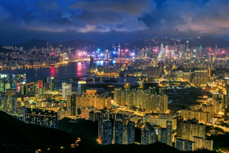 Victoria Harbour, Hong Kong - Victoria Harbour, Hong Kong, Pearl of the Orient, Night