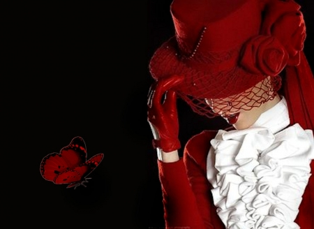 Red Fascinator Hat and Riding Ensemble
