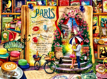 Life is an Open Book F - art, France, book, beautiful, illustration, artwork, fantasy, Paris, painting, wide screen