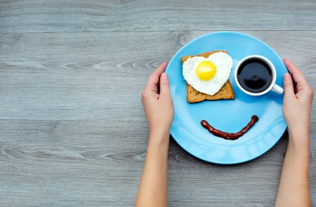 Happy Day! - food, breakfast, smile, happy, dish, coffee, heart, hand, cup, day, face, blue