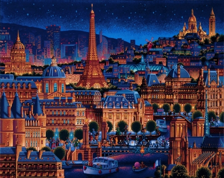 Paris Night 3d And Cg Abstract Background Wallpapers On