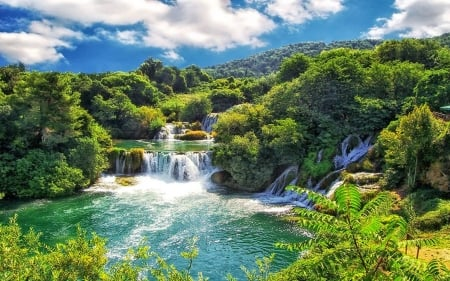 Waterfalls - forest, green, nature, trees, clouds, waterfalls