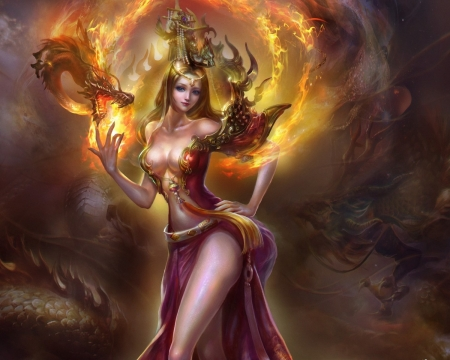 Fantasy Sexy Girl - art, fire, fantasy, girl, dragon, sexy