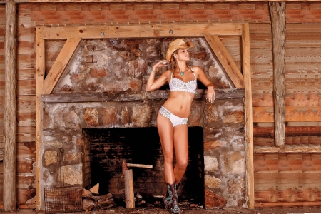 Winter's Coming . . - female, models, hats, cowgirl, lingerie, ranch, fun, women, fireplace, girls, fashion, blondes, western, style