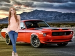 Nancy Ace and her 1968 Orange Mustang