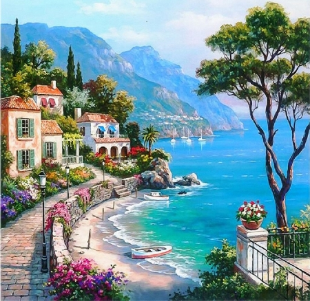 Seaside in Italy - painting, seaside, abstract, Italy