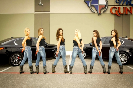 The Crew . . - female, models, cowgirl, boots, fun, outdoors, women, brunettes, guns, NRA, pistols, girls, blondes, western, style