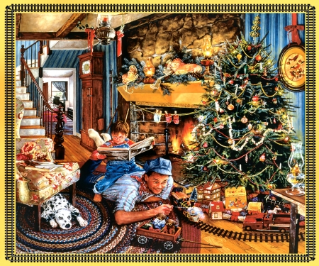 Christmas Train F - railroad, dalmation, Christmas, art, locomotive, beautiful, pets, illustration, artwork, canine, train, engine, painting, wide screen, tracks, dogs