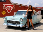 1955 Chevy 210 V8 and Girl