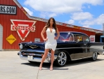 1957 Chevrolet Bel Air 2 Door Hard Top 350 and Girl