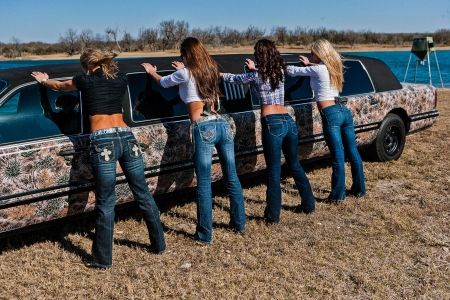 Security Inspection . . - limousine, female, models, cowgirl, boots, ranch, fun, outdoors, women, brunettes, cars, girls, fashion, blondes, western, style