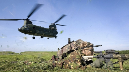 Chinook Helicopter and Soldier - Chinook, Soldier, Military, Helicopter