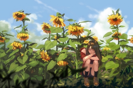 Waiting - manga, yellow, sunflower, girl, green, anime, summer, shoufu, realistic, blue