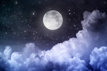 Moon and clouds - fun, cool, moon, clouds, space