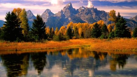 fall mountain lake lakes nature background wallpapers on desktop