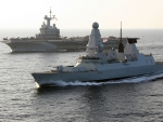 WORLD OF WARSHIPS HMS Defender escorting French aircraft carrier Charles De Gaul  on exercises in the Mediterranean