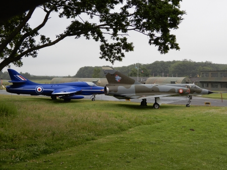 Hawker Hunter And Mirage - aircraft, two, airfield, mirage, hawker