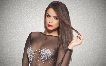 Beautiful brunette models