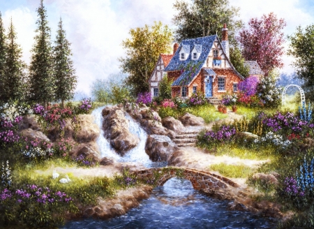 Alpine Falls - bridge, cottage, painting, river, trees, artwork