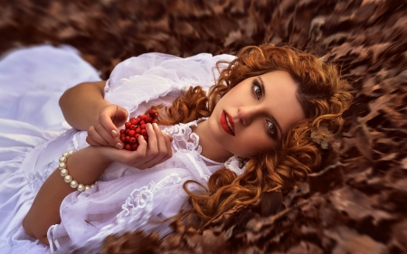 Beauty - red, autumn, model, redhead, woman, fruit, curls, pearl, girl, berry, jewel, white