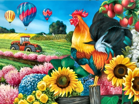 Applelane Farms F - balloons, art, tractor, illustration, rooster, flight, sunflowers, aviation, farm animals, scenery, hot air balloons, wide screen, beautiful, aircraft, artwork, painting