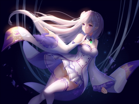 Emilia - pretty, dress, hd, beautiful, adorable, magic, sweet, magical girl, nice, anime, re zero, hot, beauty, emilia, anime girl, long hair, female, lovely, sexy, cute, kawaii, girl, purple, white