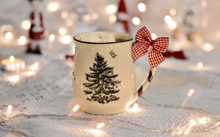 Holiday drink - Christmas, holiday, ribbon, cup, drink, lights