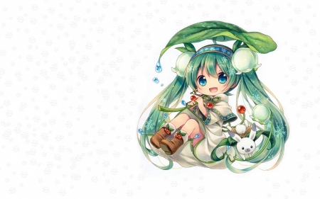 Hatsune Miku - vocaloid, lily of the valley, hatsune miku, manga, spring, chibi, cute, girl, green, anime, flower