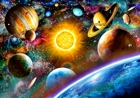 Outer Space F - art, illustration, scenery, galaxy, wide screen, beautiful, outer space, artwork, painting