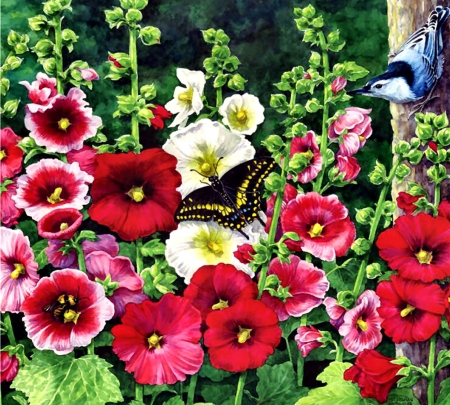 Hollyhock Garden FC - art, romance, beautiful, illustration, artwork, floral, hollyhocks, nuthatch, butterfly, love, painting, wide screen, flower, beauty, nature