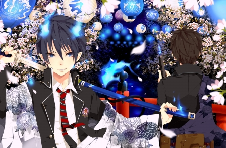 Ao no Exorcist - Yukio Okumura, sakura, lanterns, ao no exorcist, half-demon, blue exorcist, brothers, gun, Rin Okomura, katana, school uniform