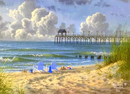 Chillin' - love four seasons, foot prints, attractions in dreams, sky, clouds, sea, paintings, beaches, summer, chairs, seaside, nature