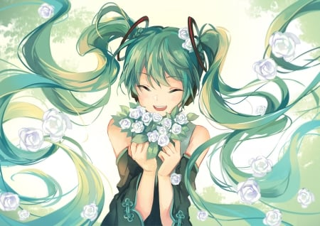 Hatsune Miku - vocaloid, green, girl, hatsune miku, anime, flower, manga, white