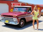 1965 Chevy C10 Pick Up and Girl