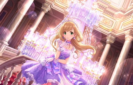 Starlight - pretty, dress, divine, chandelier, hall, beautiful, adorable, ballroom, sweet, pillars, nice, anime, beauty, anime girl, long hair, light, gorgeous, female, lovely, brown hair, gown, cute, kawaii, girl, lady, maiden